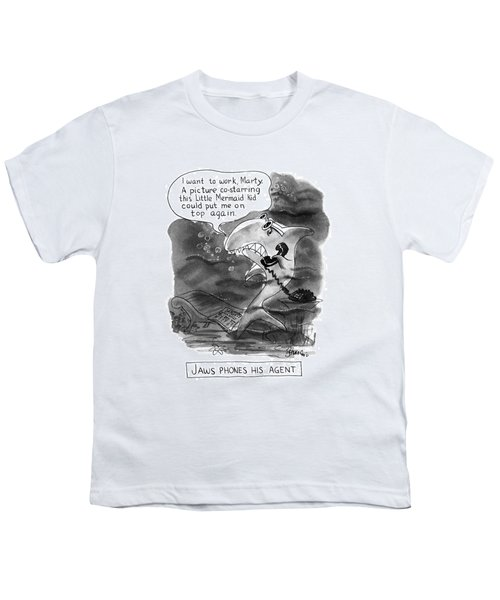 Jaws Phones His Agent I Want To Work Matrty Youth T-Shirt
