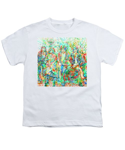 Led Zeppelin - Watercolor Portrait.1 Youth T-Shirt by Fabrizio Cassetta