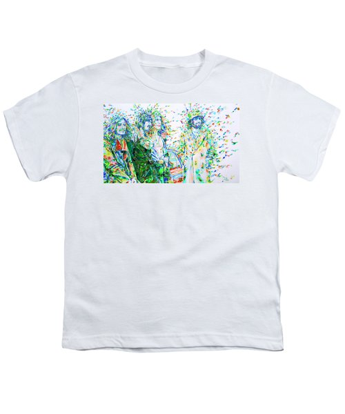 Led Zeppelin - Watercolor Portrait.2 Youth T-Shirt by Fabrizio Cassetta