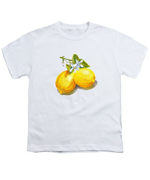 Youth T-Shirt featuring the painting Lemons And Blossoms by Irina Sztukowski
