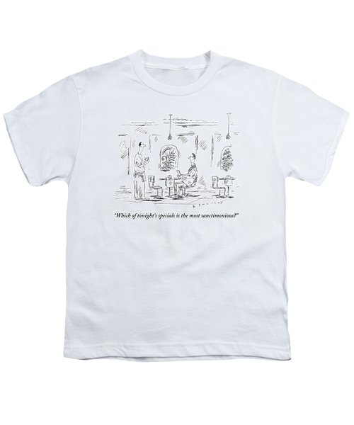 Man Speaks To A Waiter At A Restaurant Youth T-Shirt