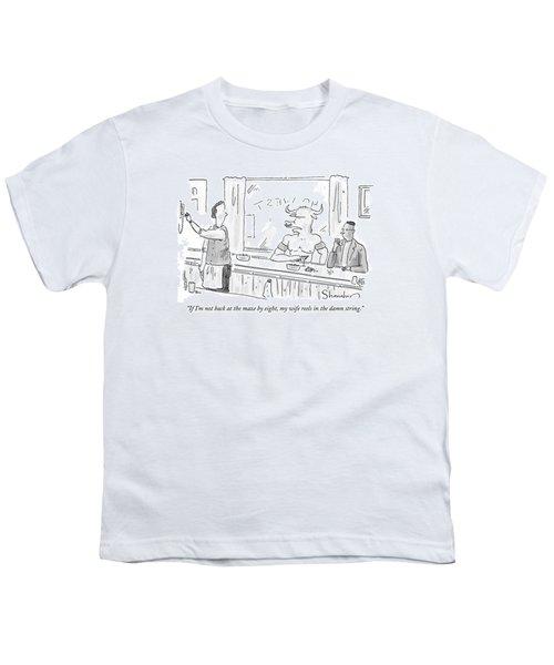 Minotaur At Bar Talking To Bartender Reaching Youth T-Shirt