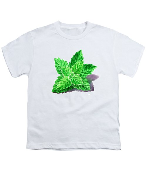 Youth T-Shirt featuring the painting Mint Leaves by Irina Sztukowski
