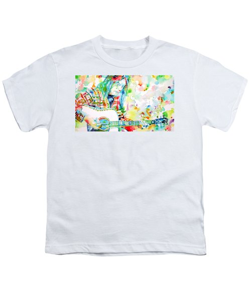 Neil Young Playing The Guitar - Watercolor Portrait.1 Youth T-Shirt