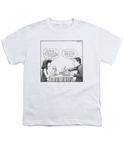 On A Date, A Woman Compliments The Man's Youth T-Shirt