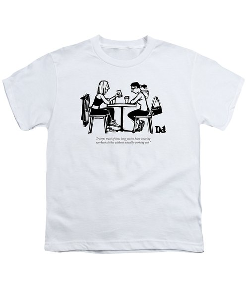 One Woman In Workout Clothes Shows A Phone App Youth T-Shirt
