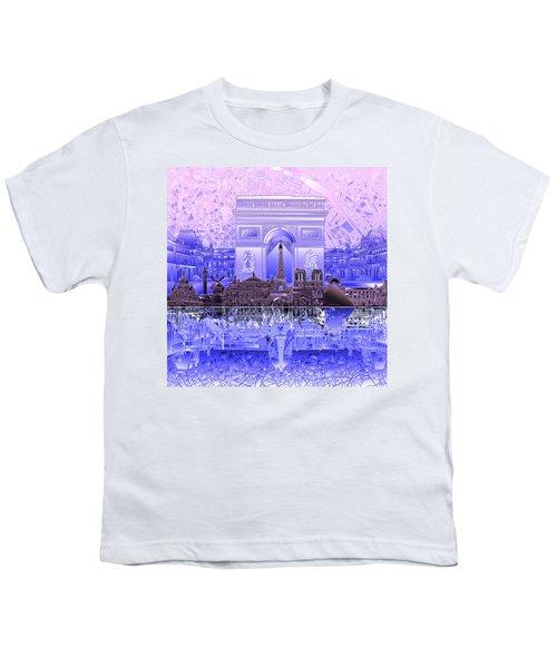 Paris Skyline Landmarks 7 Youth T-Shirt
