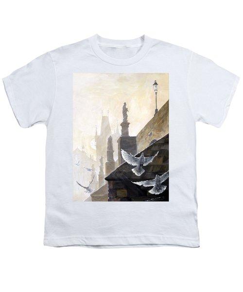 Prague Morning On The Charles Bridge  Youth T-Shirt