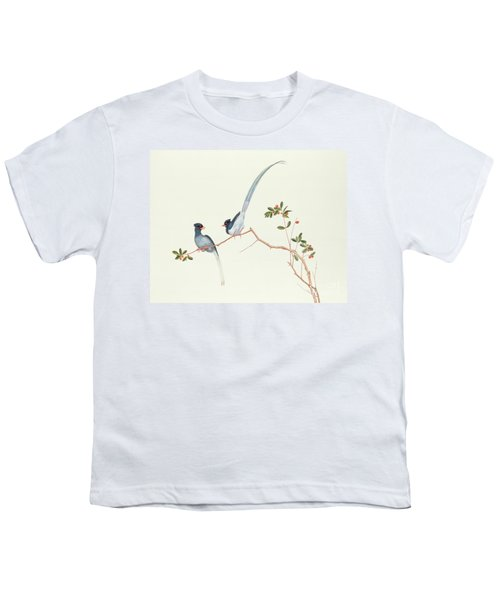 Red Billed Blue Magpies On A Branch With Red Berries Youth T-Shirt