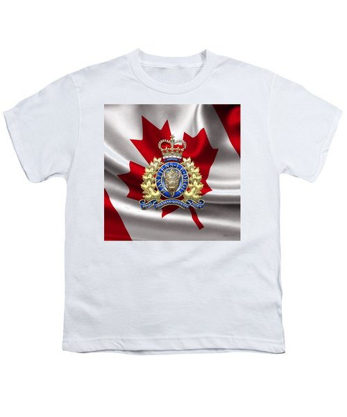 Royal Canadian Mounted Police - Rcmp Badge Over Waving Flag Youth T-Shirt by Serge Averbukh
