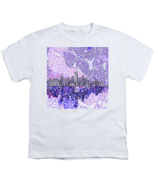 Seattle Skyline Abstract 3 Youth T-Shirt