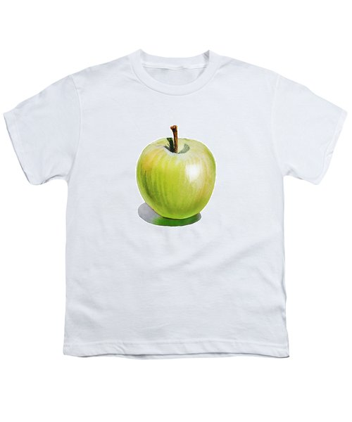Youth T-Shirt featuring the painting Sun Kissed Green Apple by Irina Sztukowski