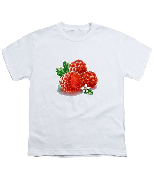 Youth T-Shirt featuring the painting Three Happy Raspberries by Irina Sztukowski