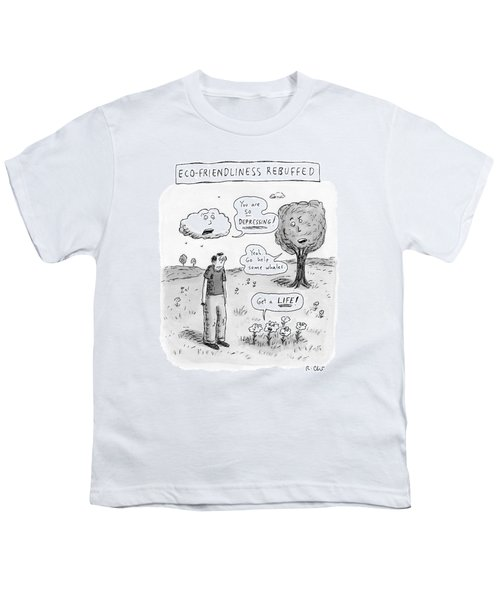 Title: Ecofriendliness Rebuffed. A Man Walks Youth T-Shirt
