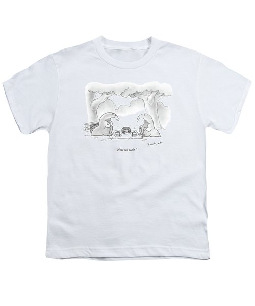 Two Anteaters On A Picnic Wait For Ants To Come Youth T-Shirt