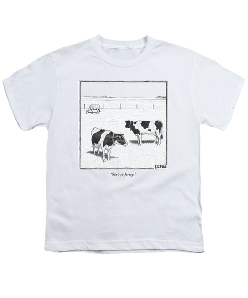 Two Spotted Cows Looking At A Jersey Cow Youth T-Shirt