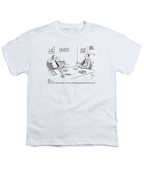 Two Executives In Suits Sit At A Business Table Youth T-Shirt