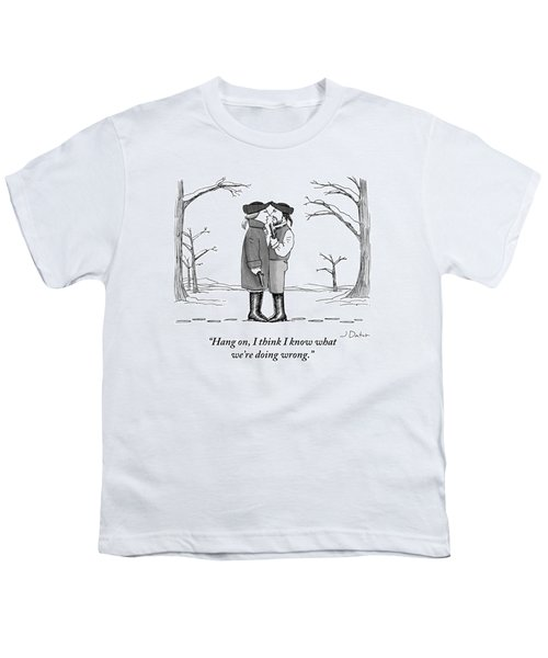 Two Gentlemen Stand Nose-to-nose With Guns Youth T-Shirt