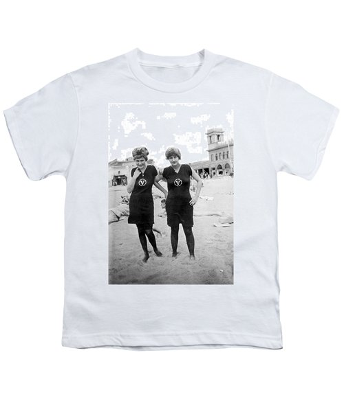 Two Girls At Venice Beach Youth T-Shirt by Underwood Archives