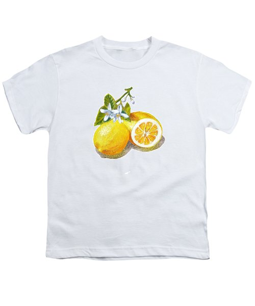 Youth T-Shirt featuring the painting Two Happy Lemons by Irina Sztukowski