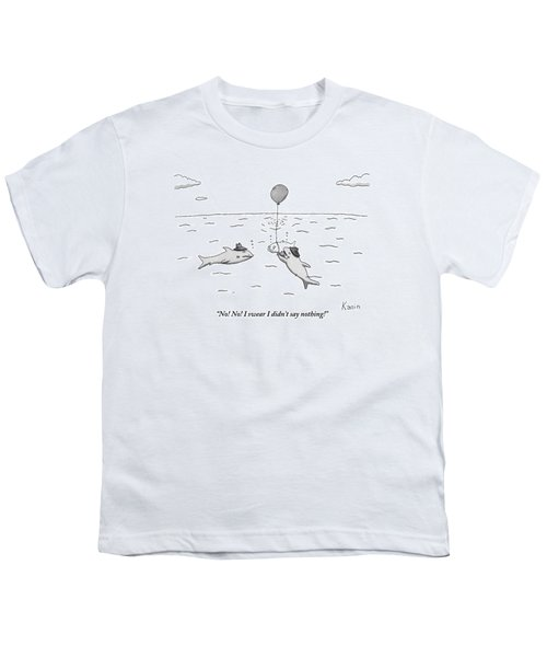 Two Mafioso-type Sharks Tie A Balloon To Another Youth T-Shirt