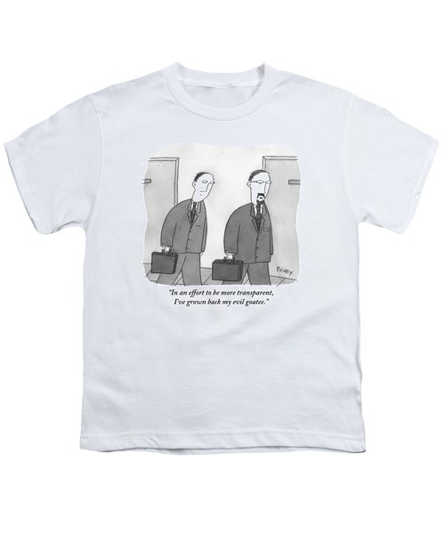 Two Men In Suits Walk Together.  One Has A Full Youth T-Shirt
