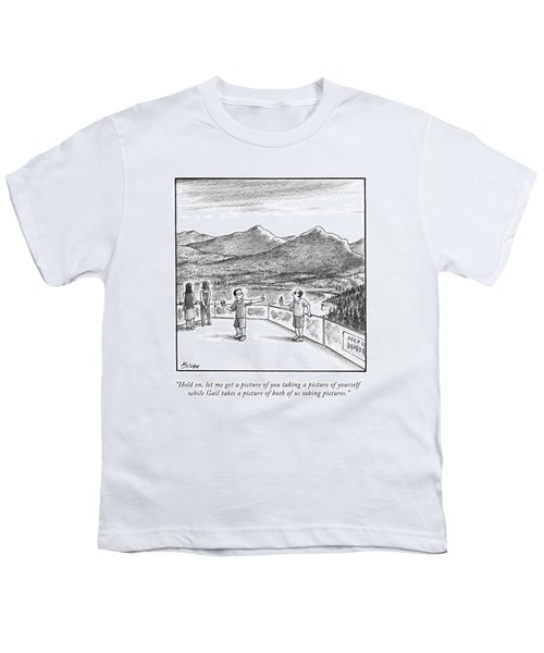 Two Men Take Pictures At A Mountain Overlook Youth T-Shirt