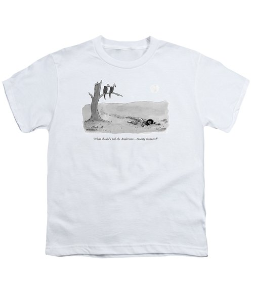 Two Vultures Watch A Man Crawl Youth T-Shirt