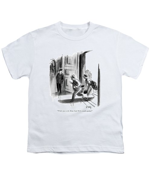 Which Way To The Mona Lisa? We're Double-parked Youth T-Shirt by Barney Tobey
