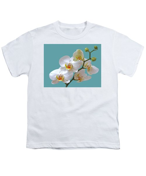 White Orchids On Ocean Blue Youth T-Shirt
