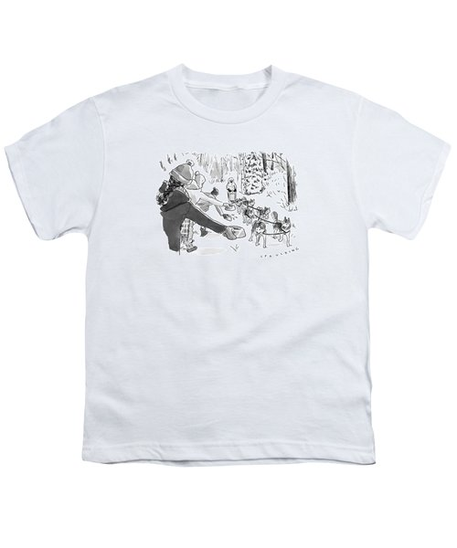 Winter Suited Volunteers Hold Out Dog Dishes Youth T-Shirt