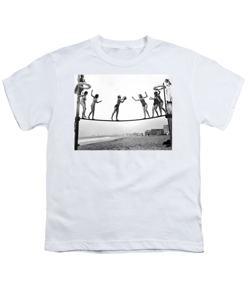 Women Play Beach Basketball Youth T-Shirt by Underwood Archives