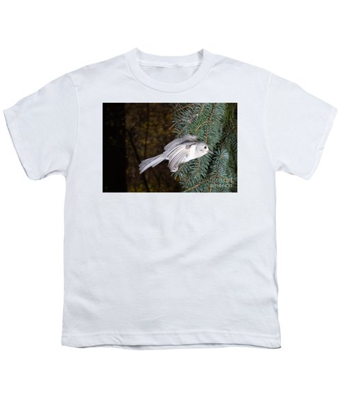 Tufted Titmouse In Flight Youth T-Shirt by Ted Kinsman