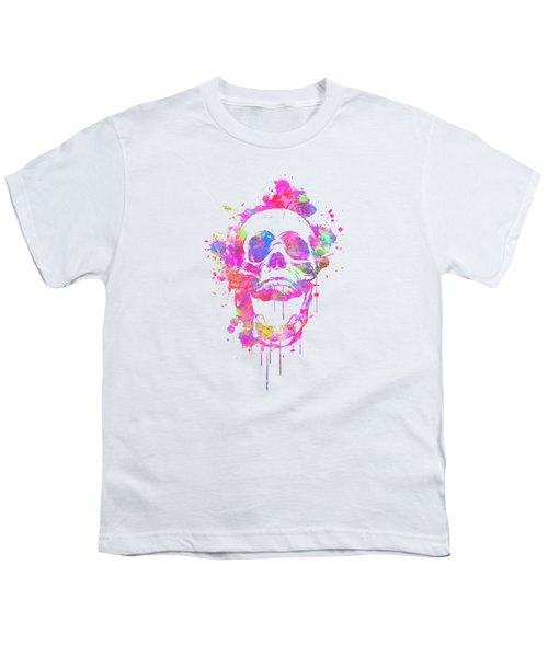 Cool And Trendy Pink Watercolor Skull Youth T-Shirt by Philipp Rietz