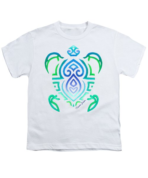 Tribal Turtle Youth T-Shirt by Heather Schaefer
