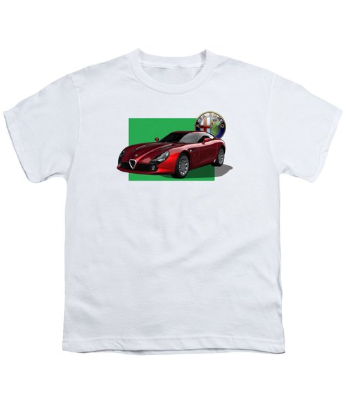 Alfa Romeo Zagato  T Z 3  Stradale With 3 D Badge  Youth T-Shirt by Serge Averbukh