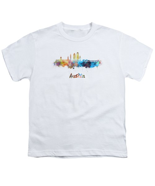 Austin Skyline In Watercolor Youth T-Shirt by Pablo Romero
