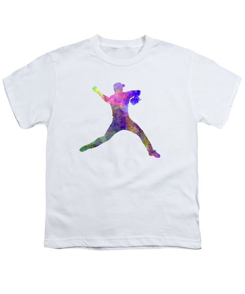 Baseball Player Throwing A Ball Youth T-Shirt by Pablo Romero