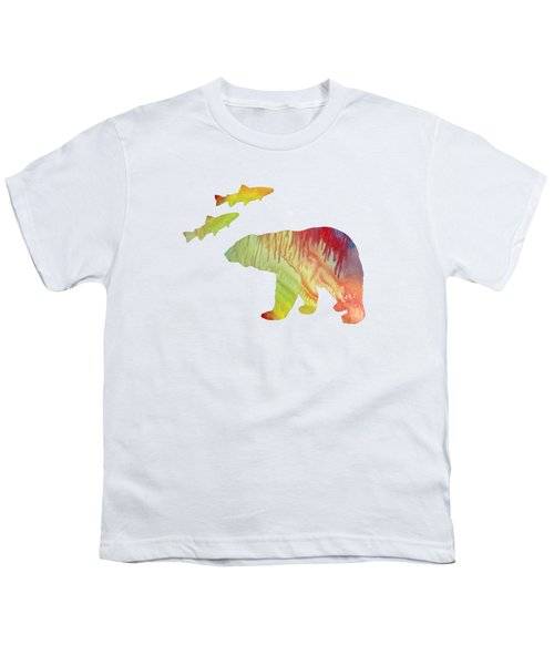 Bear And Salmon Youth T-Shirt