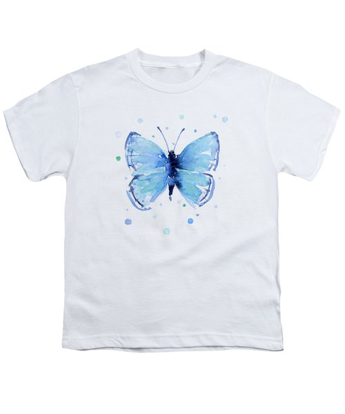 Blue Abstract Butterfly Youth T-Shirt