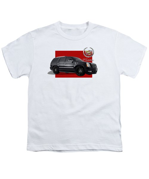 Cadillac Escalade With 3 D Badge  Youth T-Shirt by Serge Averbukh