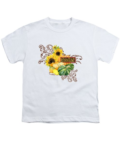 Celebrate Abundance - Harvest Fall Pumpkins Squash N Sunflowers Youth T-Shirt by Audrey Jeanne Roberts