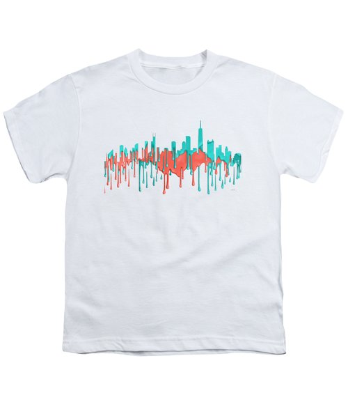 Chicago Illinios Skyline Youth T-Shirt by Marlene Watson