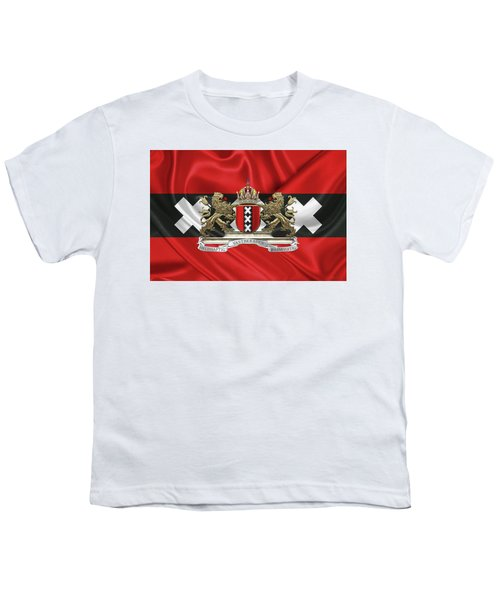Coat Of Arms Of Amsterdam Over Flag Of Amsterdam Youth T-Shirt by Serge Averbukh