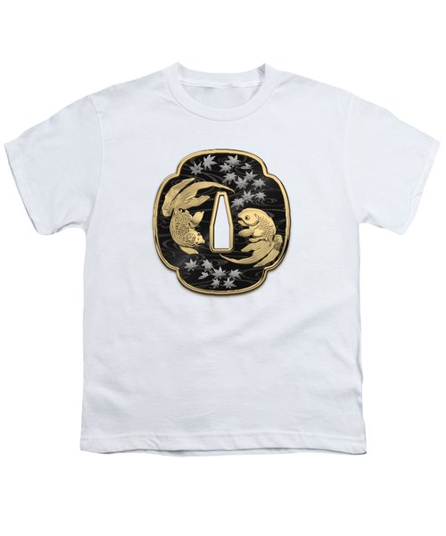 Japanese Katana Tsuba - Twin Gold Fish On Black Steel Over White Leather Youth T-Shirt