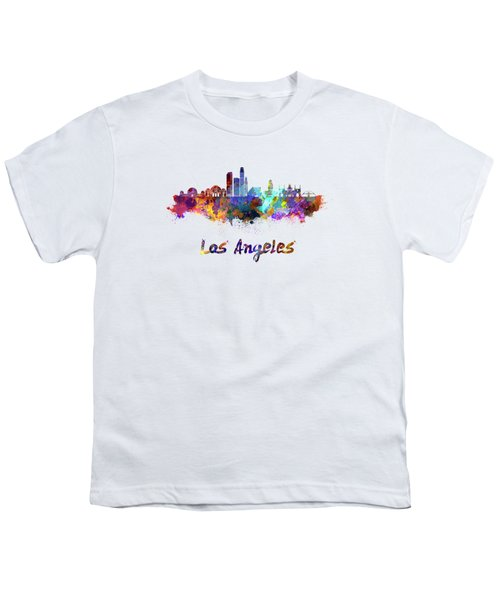 Los Angeles Skyline In Watercolor Youth T-Shirt by Pablo Romero