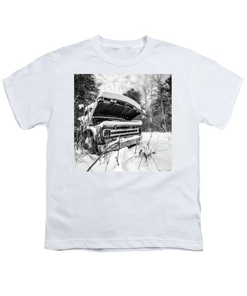 Old Abandoned Pickup Truck In The Snow Youth T-Shirt