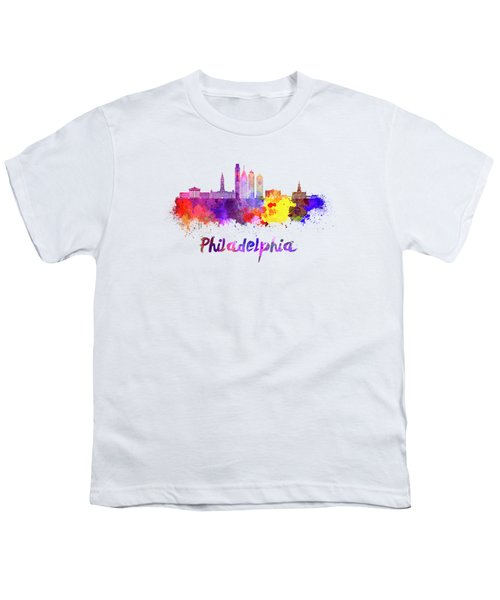 Philadelphia Skyline In Watercolor Youth T-Shirt by Pablo Romero
