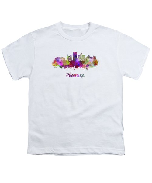 Phoenix Skyline In Watercolor Youth T-Shirt
