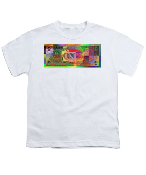 Pop-art Colorized One U. S. Dollar Bill Reverse Youth T-Shirt